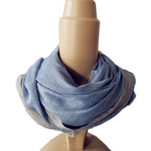 spring and summer fashion 100% polyester long andblue men slim scarf