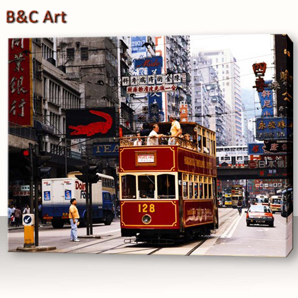 Wholesale Wall Decoration Hong Kong Street Scene Bus Painting Models
