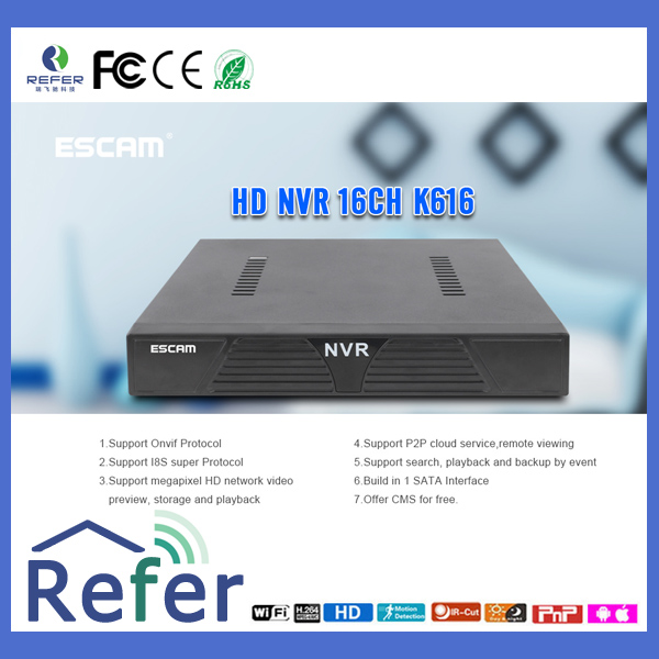 Factory OEM/ODM ESCAM CMOS smart home monitor nvr by mobile