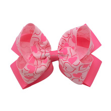Korker Ribbon Valentine Hair bow Hearts Printed Double Stacked Cheer bow