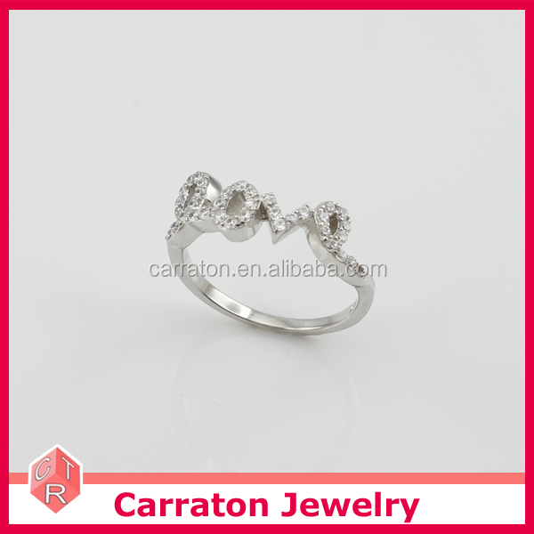 Latest Design Silver 925 Jewellry Ring with Swiss Diamonds Solid Silver Ring RSQD1020