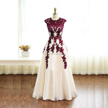 Charming Burgundy Lace Tulle Long Prom Dress Applique Bridesmaid Dress Evening Dress