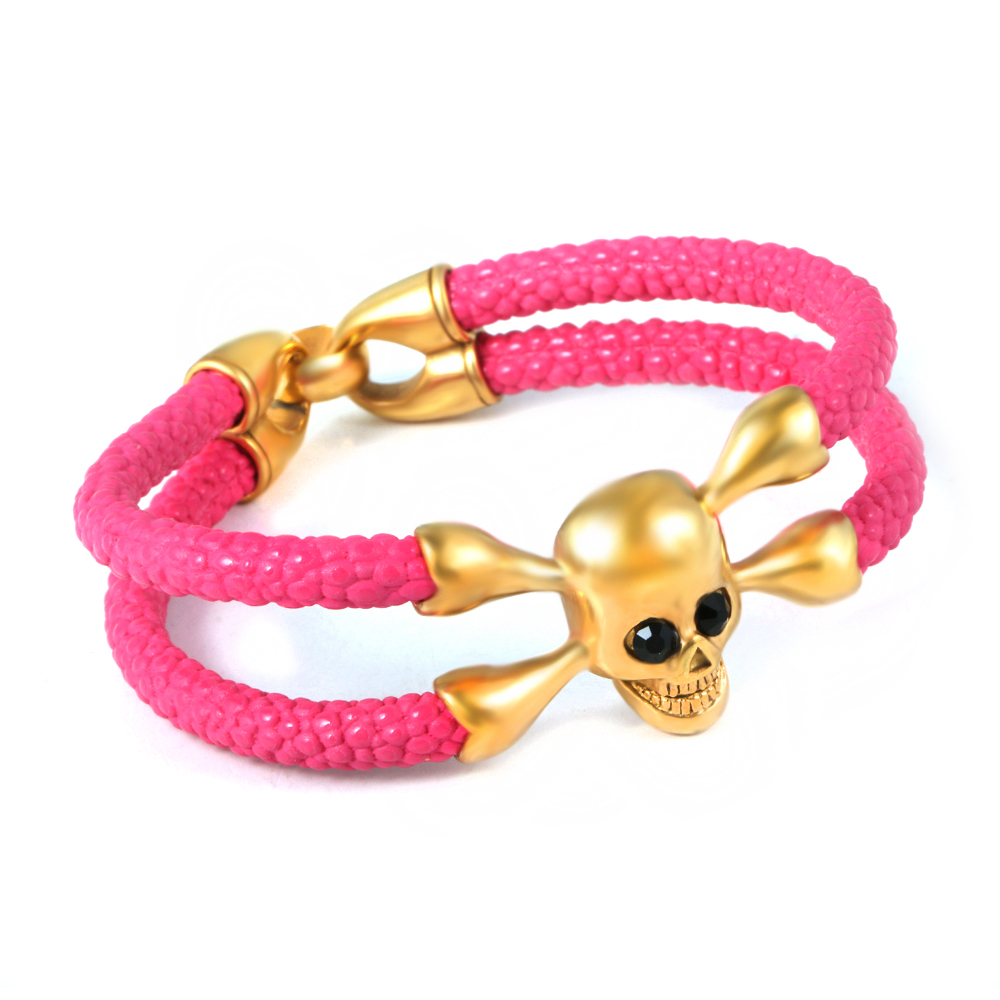 Stainless Steel Jewelry High Quality Description Pink Leather Skull 18k Gold Bracelet