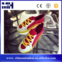 Custom made PU and suede leather upper flat girls dance sneakers