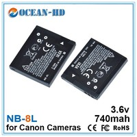 Flat rechargeable 3.6v lithium ion battery for Canon NB-8L CB-2LA PowerShot A2200