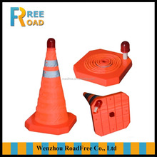 50cm/55cm orange red reflective fluorescent roadways/wprksite safety collapsible portable traffic cones