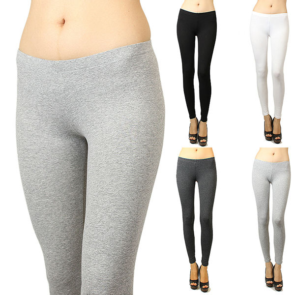 Basic Solid Skinny Fit Stretch Cotton full length Leggings