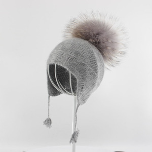 Myfur Crochet Fur Pom Pom Beanie 100 % Cashmere Hat for Kid with Earflap