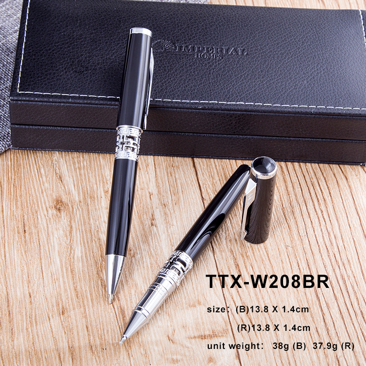 2018 Hollow out printing metal body ballpoint pen black ball pen