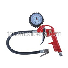 red tire infator with brass tire chuck and tire gaue