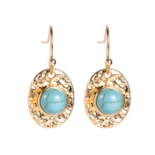 2019 new alloy inlaid natural turquoise pendent earrings fashion simple women's earrings