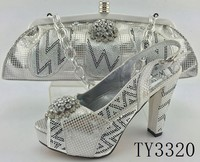 TY3320 italian matching shoes and bags silver color high heel shoes and bag