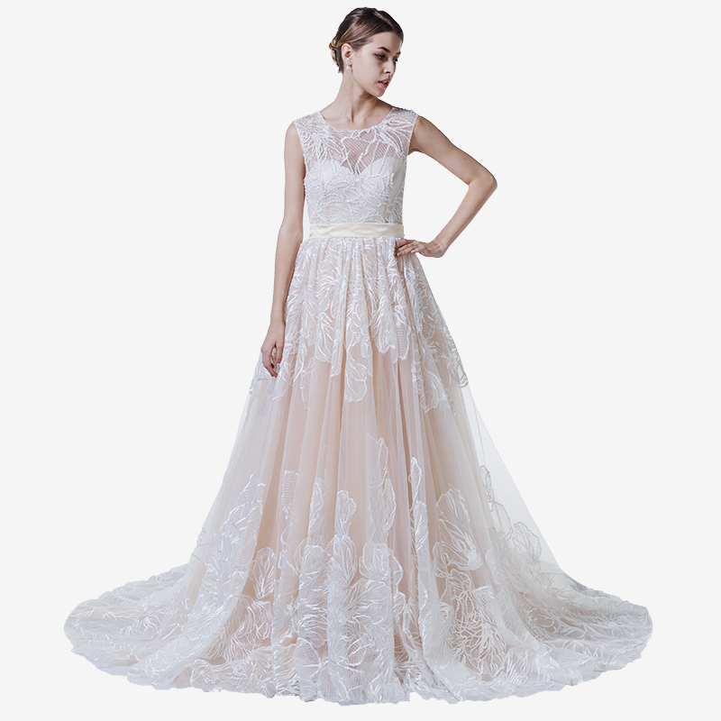 High Quality GuangZhou Import Wedding Dress Custom Made In China Floral Dresses For Bridals