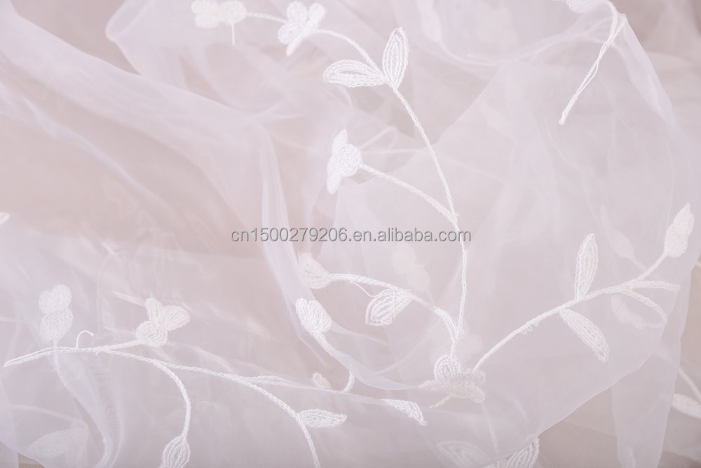 European/ French/ Dubai luxury style flower chain embroidery curtain fabric ready made curtains