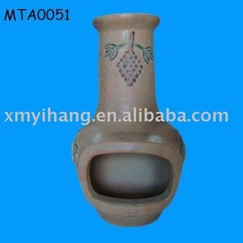 outdoor terracotta chiminea