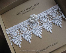 Special Luxury handmade Lace Pearl Buckle Wedding Invitation with Box