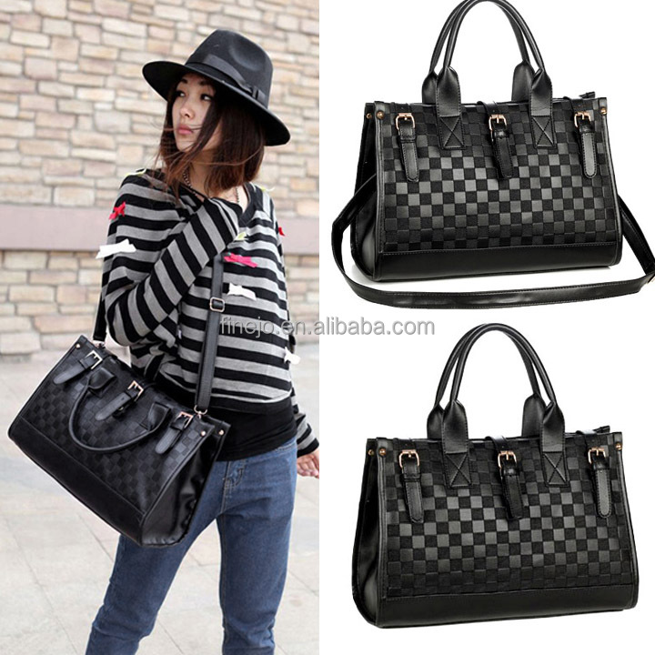Women's Grid Bag Checker Board Synthetic <strong>Leather</strong> Handbag Shoulder Bag