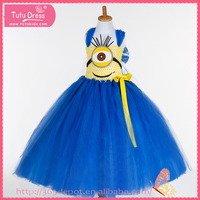 Most popular cartoon pattern girls' dress blue and yellow big eye