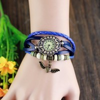 Heart wing Pendant Braided Rope Watches Vintage Leather Strap Bracelet Women Lady Quartz Watches