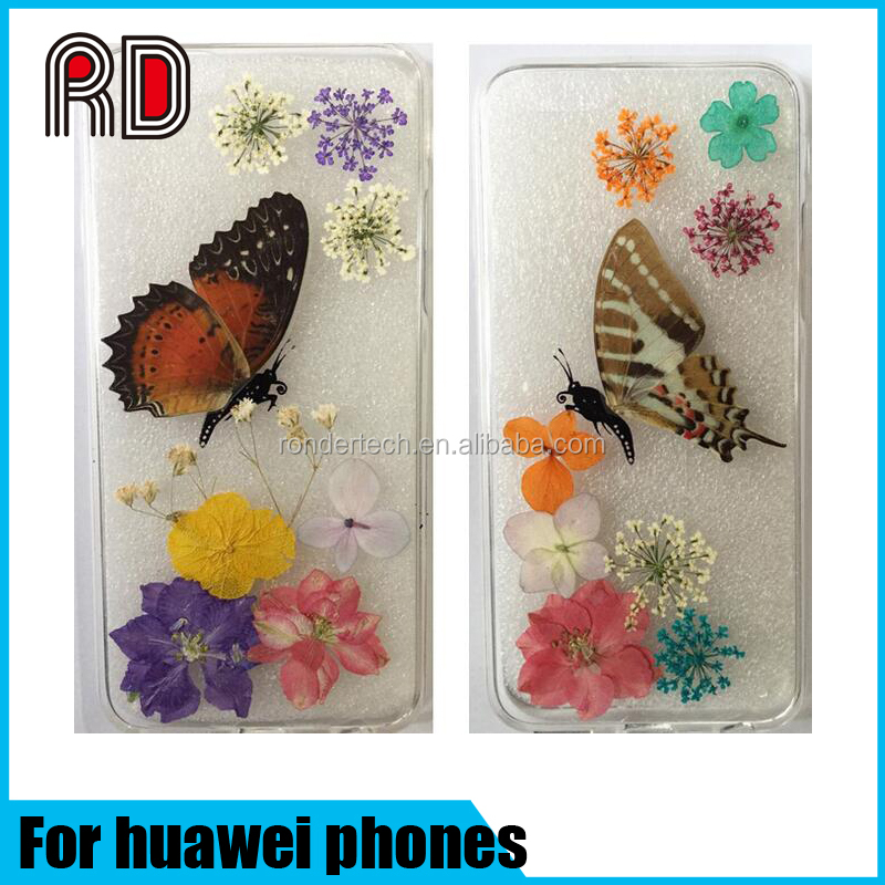 Vivid Butterfly Real Flower TPU Case For Huawei Phones Transparent Clear DIY Case