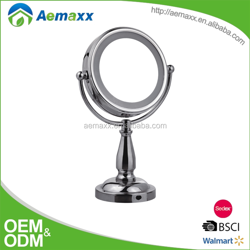 Fashion style table standing metal round framed rotatable LED mirrors for makeup
