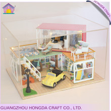 Good quality with light and simulation furniture doll house wooden diy kits
