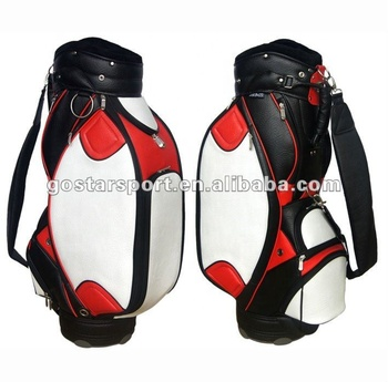 White and Black PU Golf Bag with 7 Dividers