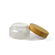 50ml Cosmetic packaging frosted cream glass jar with wood Bamboo screw lid