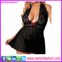 women hot sale plus size black lingerie sexy baby doll lingerie