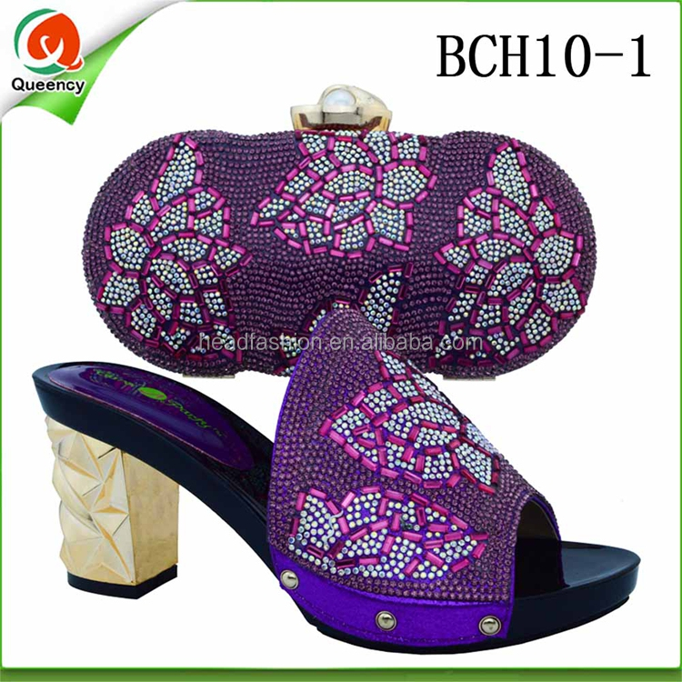 BCH10 Queency China Suppliers Italian Ladies Genuine Leather Wedding Shoes and Bag to Match for Aso Ebi