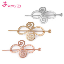 wayzi brand fancy new gold or silver hair accessories wholesale cheap flower metal hair sticks for women