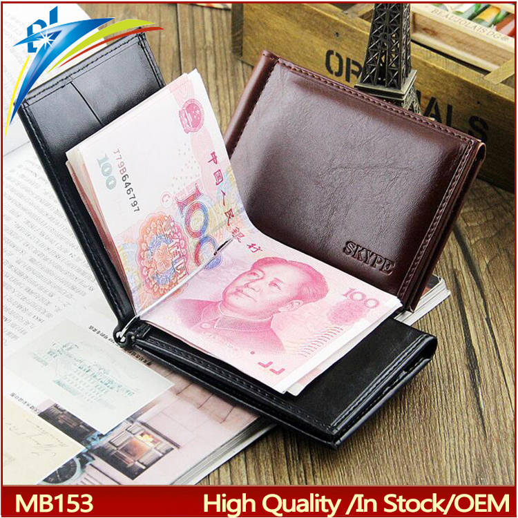 2016 Hot Sale Fashion New Men Money Clips Black Coffee PU Leather 3 folding