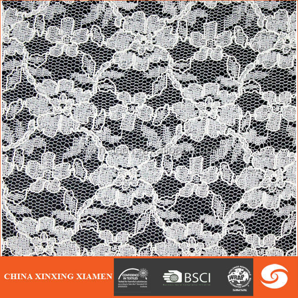 white cotton embroidery lace curtain fabric for wedding