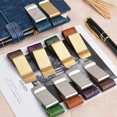 Fashion vintage travel notebook accessories pen <strong>clip</strong> metal stainless steel leather pen holder <strong>clip</strong>