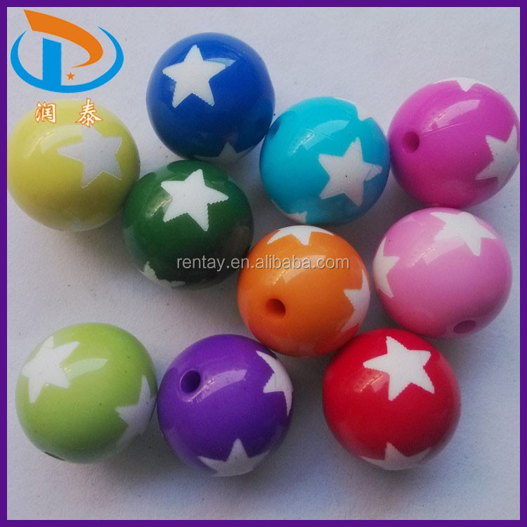New Arrival 20MM Mixed Color Round Printed Star Acrylic Beads for Making Necklace Beads Jewelry