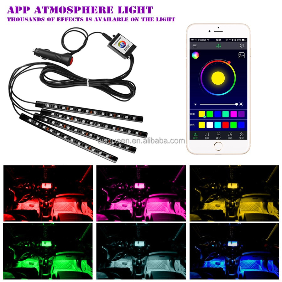 4PCS APP Control 12LED RGB Led Car Atmosphere Light Auto Cigarette LED Glow Decorative Lamp With RGB Controller For Android IOS