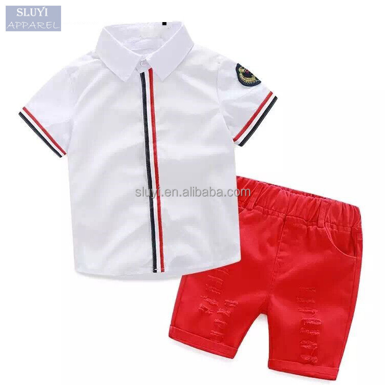 boys clothes clothing sets 2017 Fashion style contrast color buttons up short sleeve baby clothing with dress shirt +shorts Suit