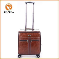 2015 hot New decent PU vintage carry on leather luggage