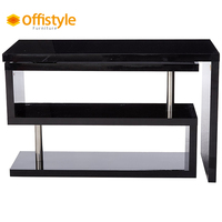 360 angle turn multi-fuctional MDF white modern office desk with shelf