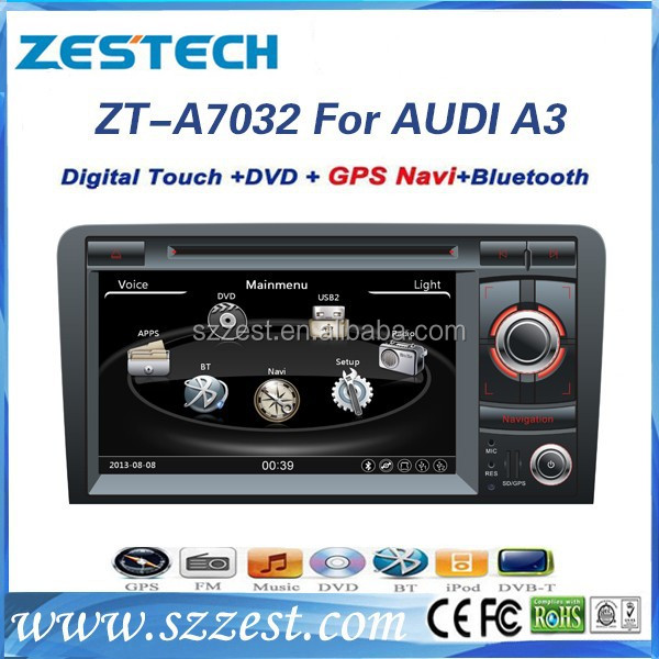 ZESTECH 7 inch double din car audio navigation for Audi A3 multimedia system