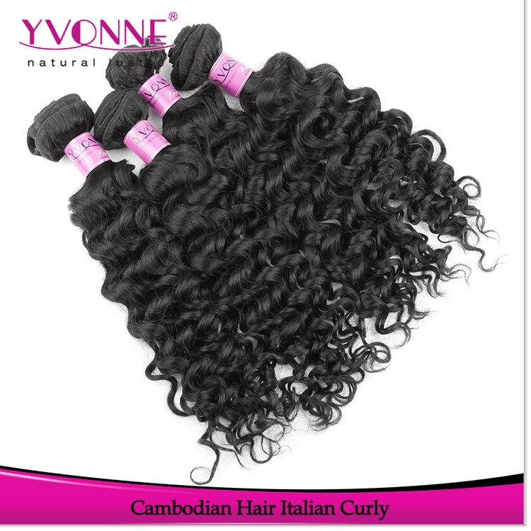 Yvonne italian curl 100% cambodian hair wholesale virgin human remy hair extensions