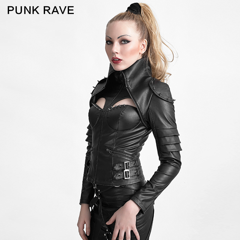Y-626 Punk rivet studded sexy woman high collar tight leather jacket
