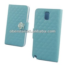 For Samsung Galaxy note3 Crystal Camellia Diamond Stand Leather Wallet Flip Cover Case