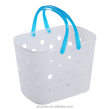 transparent wash cheap plastic baskets with colorful handle
