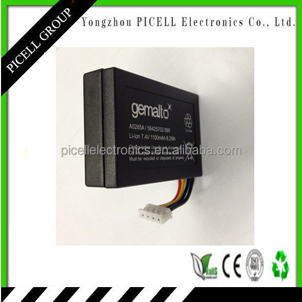 Gemalto Pos terminal battery,7.4V 1100Mah capacity,lithium ion battery pack for pos machine A0285A