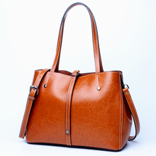 Practical simple genuine leather big tote bag for shopping