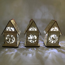 laser cut wooden christmas house decoration with led light