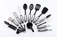 22-piece Kitchen Utensils Sets - Home Cooking Tools- Stainless Steel & Nylon Gadgets- Turners, Tongs, Spatulas, Pizza Cutter, Wh