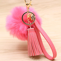 Fashion three tassel plush pompom keychain trinkets round fur ball key in locks