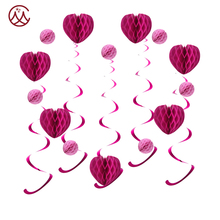 Clear and vibrant colors paper decoration for wedding and proposal party/ rose red and hot memory for her/ light your party